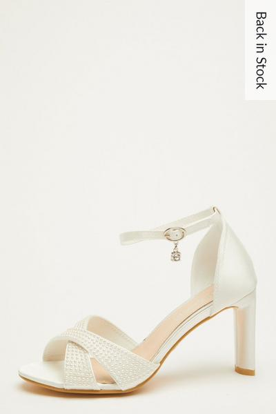 Bridal Wide Fit White Heeled Sandal